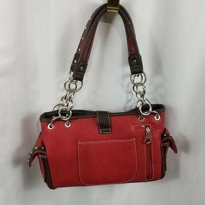 Montana West Bags - Montana West Red Brown Buckle Purse Handbag
